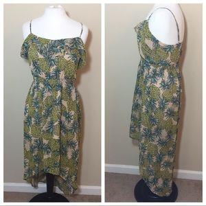 Pineapple tropical print hi low dress Sz Small